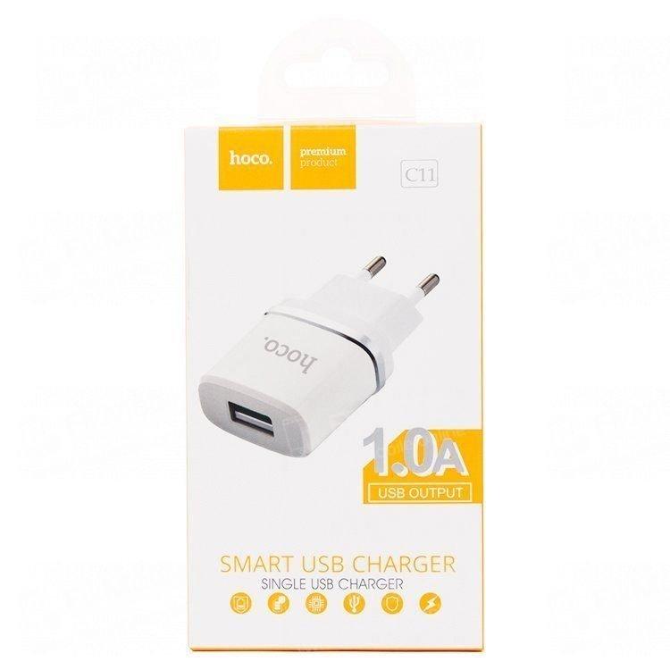 Сетевое зарядное устройство HOCO C11 1A USB (белое)
