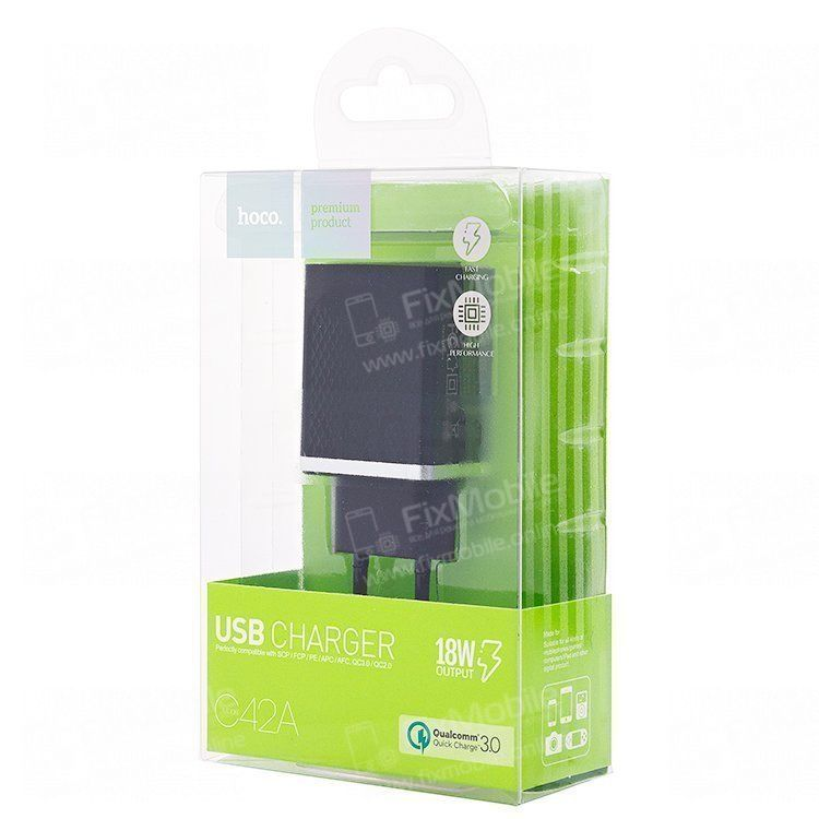 Сетевое зарядное устройство HOCO C42A 2.4A USB (черное)