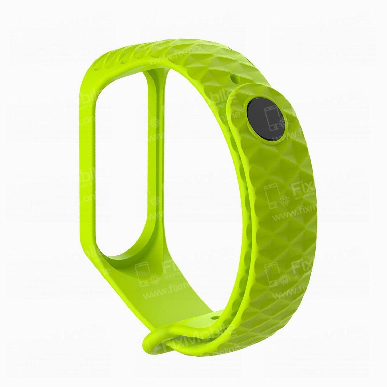 Ремешок для Xiaomi Mi Band 4 силиконовый Рельеф (зеленый)